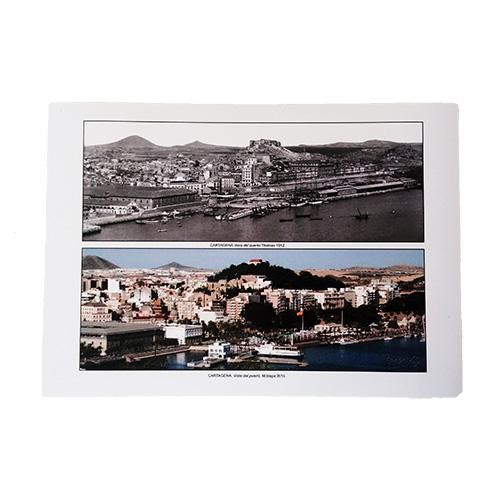 Lámina puerto de Cartagena ayer y hoy